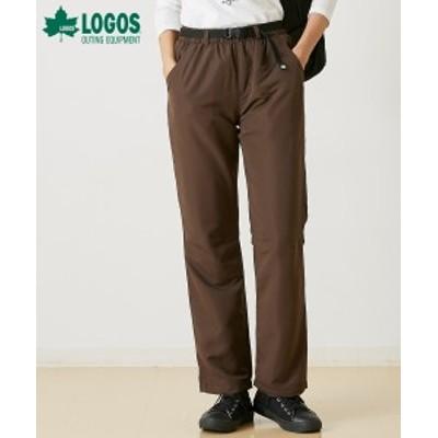 パンツ ストレート 大きいサイズ レディース LOGOS ロゴス 裏トリコット スミクロ/ブラウン LL/3L ニッセン