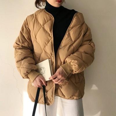 キルティングジャケット ブルゾン コート アウター 中綿 ダウン ミドル丈 ノーカラー ゆったり 防寒 秋 冬