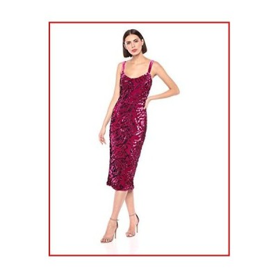 【新品】Dress the Population Women's Lynda Sequin Sleeveless Fitted Midi Sheath Dress, Magenta, M【並行輸入品】