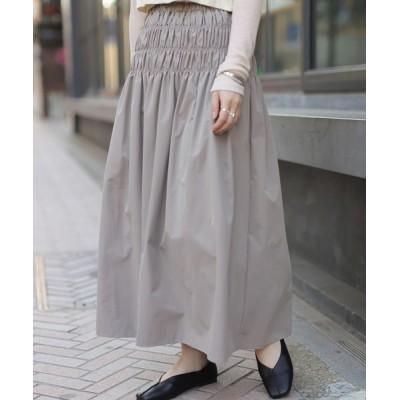 スカート シャーリングギャザースカート