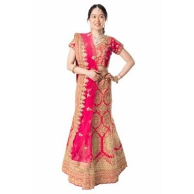 【送料無料】 【1点物】インドのレヘンガドレスセット レッド / パーティードレス コスプレ ウェディングドレス 民族衣装 サリー レディ