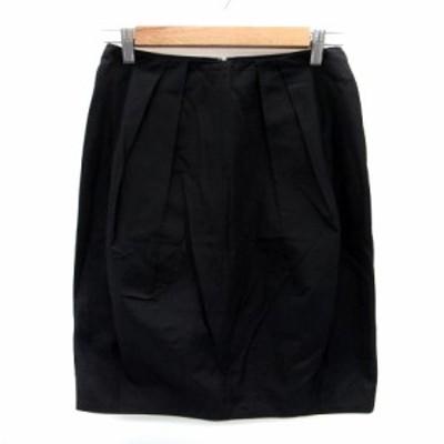 【中古】ボールジー BALLSEY トゥモローランド スカート フレア ひざ丈 シルク混 38 黒 ブラック /HO22 レディース