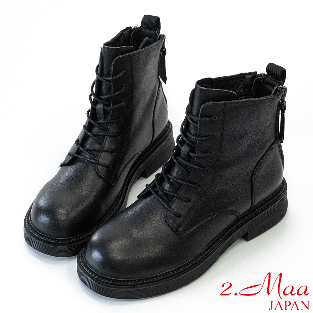 2.Maa 潮流尖端·真皮刷色後拉鍊短靴 - 黑