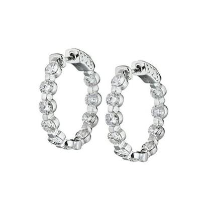 14Kホワイトゴールドフープダイヤモンドイヤリング4.05CTダイヤモンドH - Iカラーi1- i2クラリティ
