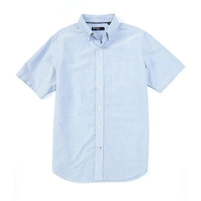 クレミュ メンズ シャツ トップス Short-Sleeve Solid Oxford Woven Shirt Riviera Blue