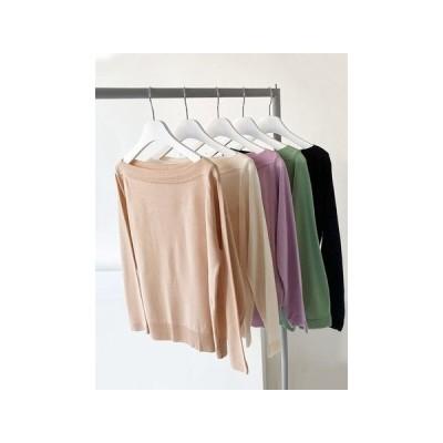 5カラ− リップネック スリム シンプル 長袖 ロング ニット knit