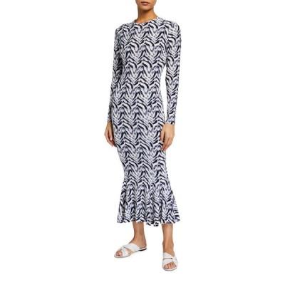 ノーマカマリ レディース ワンピース トップス Zebra Print Long-Sleeve Fishtail Dress