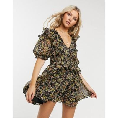 トップショップ レディース ワンピース トップス Topshop shirred waist mini dress in multi