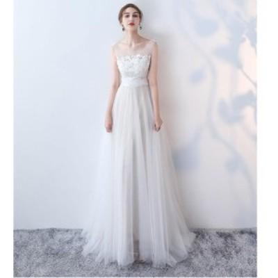 ウエディングドレス ロングドレス パーディードレス aラインワンピース お呼ばれ 二次会 演奏会 大きいサイズ 上品 大人 フォマール 結婚