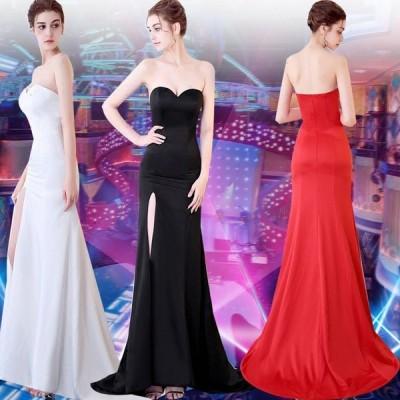 ロングドレス ウェディングドレス イブニングドレス 演奏会 カラードレス 大きいサイズ ドレス ロング 結婚式 お呼ばれ 大きい ピアノ ステージドレス[レッド]