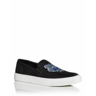 ケンゾー メンズ スニーカー シューズ Men's Tiger Embroidered Slip On Sneakers Black
