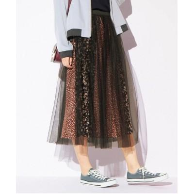 【大きいサイズ】 レオパード柄チュールスカート スカート, plus size skirts