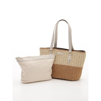 LA BAGAGERIE (ラバガジェリー) レディース バッグインバッグ付きペーパーかごバッグMサイズ キャメル フリー