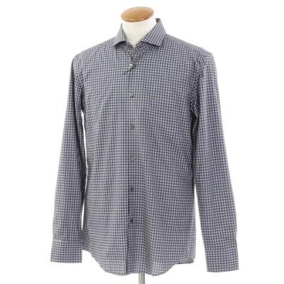 未使用 ヒューゴボス HUGO BOSS チェック カジュアルシャツ グレー×ネイビー 40
