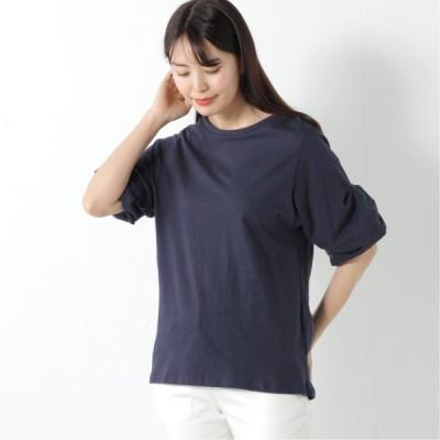 二の腕カバーにも◎コットン100%バルーン袖Tシャツ ネイビー M L LL