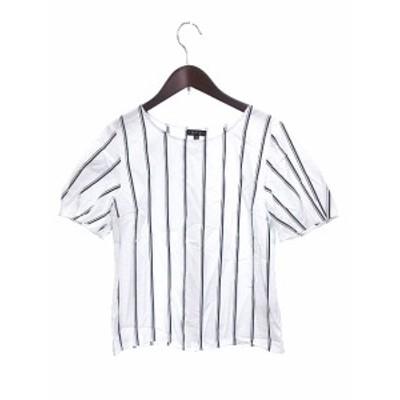【中古】インディヴィ INDIVI シャツ ブラウス ボートネック ストライプ 半袖 白 ホワイト /AU レディース