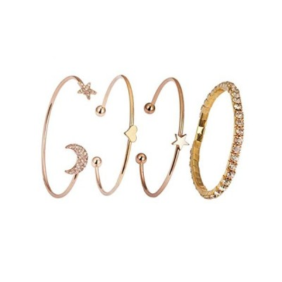 ラブ スター ムーン ジルコンブレスレット 4個 シンプル 調節可能 ゴールドブレスレット レディース ガールズ ファッションジュエリーセット