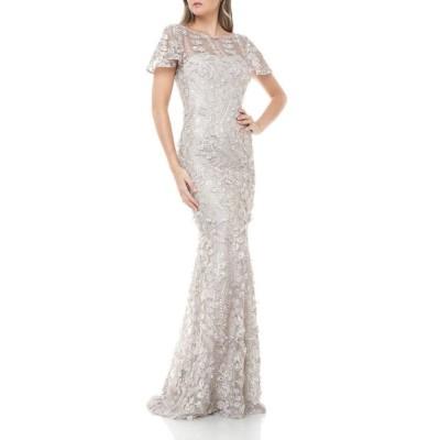カルメンマークバルボ レディース ワンピース トップス 3D Petal Embellished Flutter-Sleeve Mermaid Illusion Gown