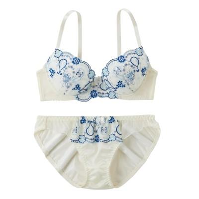カラー刺しゅうデザインブラジャー・ショーツセット(D70/M) (ブラジャー&ショーツセット)Bras & Panties