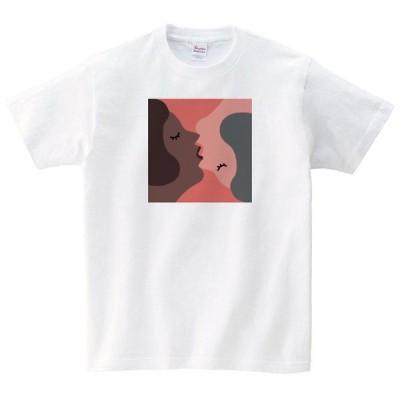 キス Tシャツ メンズ レディース 半袖 ゆったり おしゃれ トップス 白 30代 40代 ペアルック プレゼント 大きいサイズ 綿100% 160 S M L XL