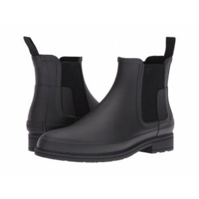 HUNTER ハンター メンズ 男性用 シューズ 靴 ブーツ レインブーツ Original Refined Dark Sole Chelsea Boots Black【送料無料】