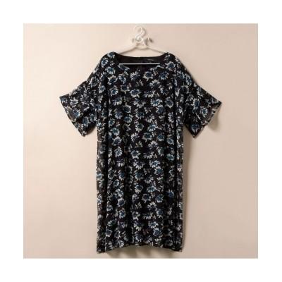 大きいサイズ 薄手素材袖フリル花柄プリントワンピース ,スマイルランド, ワンピース, plus size dress