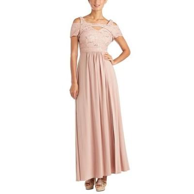 ナイトウェイ ワンピース トップス レディース Cold-Shoulder Lace Gown Rose Gold