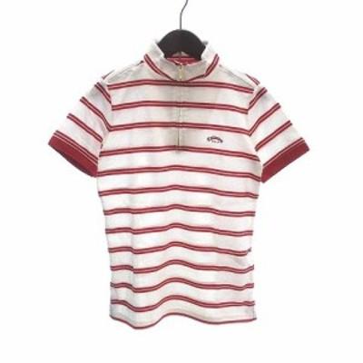 【中古】未使用品 キャロウェイ ポロシャツ 半袖 ハーフジップ ボーダー 鹿の子 S 白 ホワイト 赤 レッド レディース