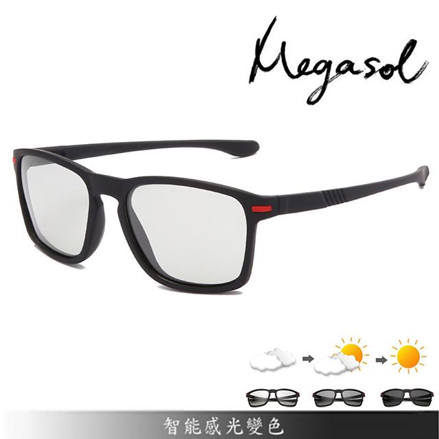 【MEGASOL】UV400智能感光變色偏光太陽眼鏡男女適用(全天候適用休閒運動太陽眼鏡SB1091)