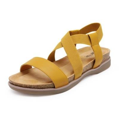 レディース 靴 サンダル DREAM PAIRS Women's Open Toe Elastic Strap Flat Sandals Summer Casual Sandals KANA YELLOW US Size 7