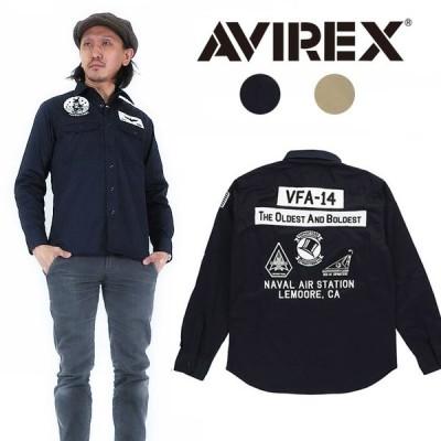 AVIREX アビレックス パッチ ジャケット 長袖 ストレッチ シャツ VFA-14 ミリタリー avi6185108