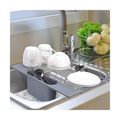ロールアップ ディッシュ乾燥ラック シンク上 ディッシュ乾燥ラック 台所用具ホルダー付き Lサイズ ステンレススチール 折りたたみ式 食器水切り 多目