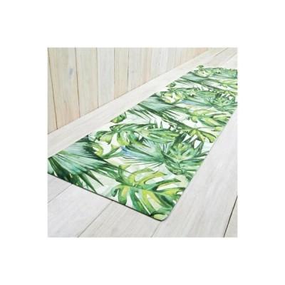 ハワイアン ボタニカル柄拭ける!キッチンマット 120cm PVC製 インテリアマット ハワイアンインテリア モンステラ