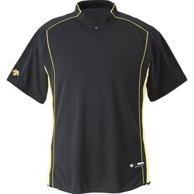 デサント(DESCENTE) メンズ Men's レディース レディス 野球 ソフトボール用ウェア 立衿2ボタンベースボールシャツブラック(ds-db109b-blk)