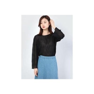 ジーラ GeeRA 【WEB限定】シフォンプリーツブラウス (ブラック)【Mサイズ】