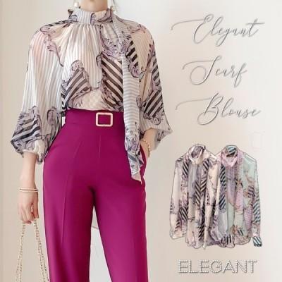 ブラウス レディース 上品 スカーフ シースルー 長袖 30代 40代 ファッション セクシー 高級感 春秋物 新作 グレー
