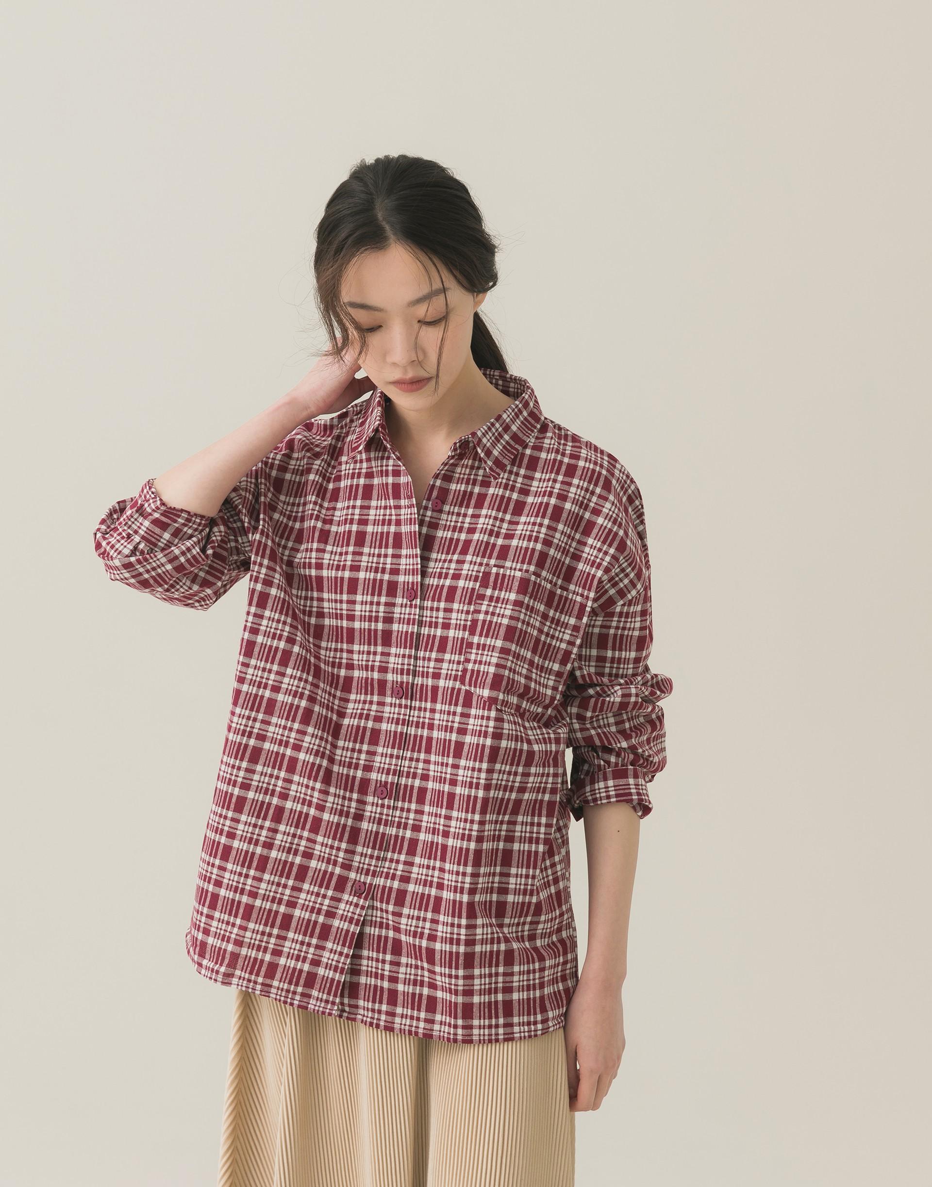 單口袋格紋休閒襯衫-女-Genquo
