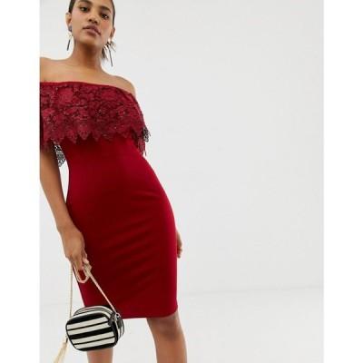 ペーパー ドールズ Paper Dolls レディース ワンピース ワンピース・ドレス lace overlay bardot pencil dress in red Red