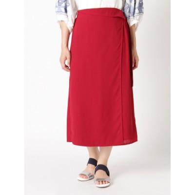 【大きいサイズ】【LL-3L】ウエストマーク付!麻見えラップスカート 大きいサイズ スカート レディース