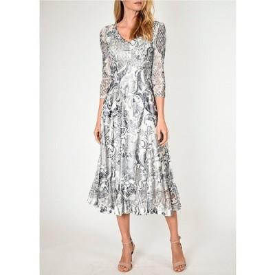 コマロフ レディース ワンピース トップス Antique Brocade Printed 3/4 Sheer Sleeve Midi Dress