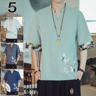 リネンTシャツ メンズ 七分袖Tシャツ Tシャツ 紐 半袖 綿麻Tシャツ 無地 夏 七分 夏物綿麻 スリム 鶴柄