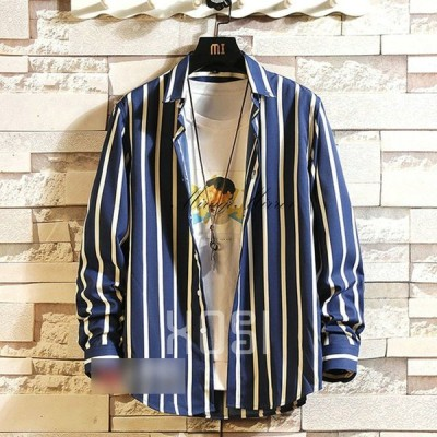 ストライプシャツ メンズ 長袖シャツ ボダンダウンシャツ ワイシャツ カジュアル 通勤 紳士服 トップス 秋服