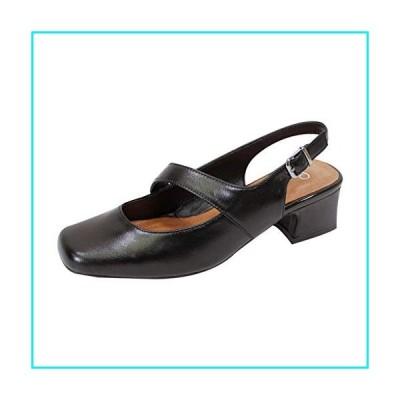Peerage Trixie (LP8159) Women Wide Width Mary Jane Leather Dress Slingback Shoes Black 6【並行輸入品】