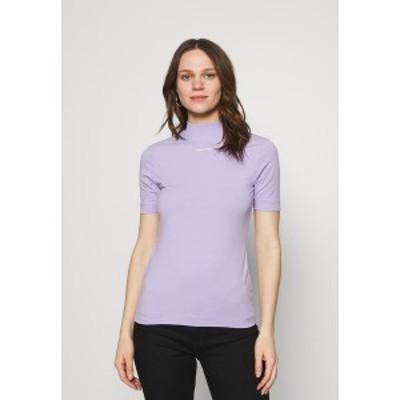 カルバンクライン レディース Tシャツ トップス MICRO BRANDING STRETCH MOCK NECK - Print T-shirt - palma lilac palma lilac