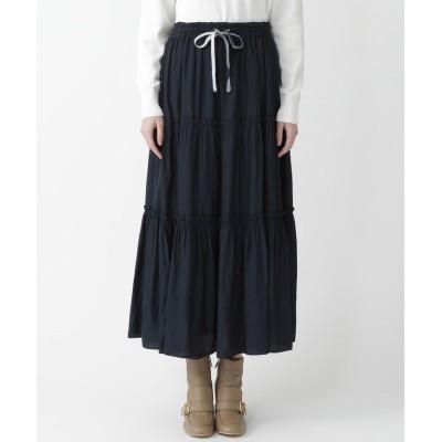 (BLUE LABEL CRESTBRIDGE/ブルーレーベルクレストブリッジ)パウダリーサテンスカート/レディース ネイビー