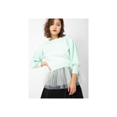 セシルマクビー CECIL McBEE 短丈ニット+裾フリルキャミSET (ライトグリーン)