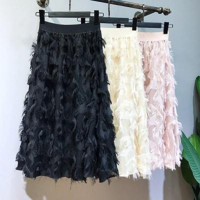 スカート レディース ティアードスカート 白ロングスカート ひざ丈 ウエストゴム 黒Aラインスカート 薄手 春夏 4色 フリーサイズ