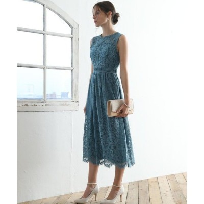 ドレス 幾何学模様柄レース切替ミモレ丈ワンピースドレス