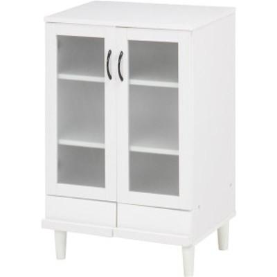 カップボード/キッチン収納 〔ホワイト〕 幅60cm 扉付き収納棚 脚付き 『アルト』