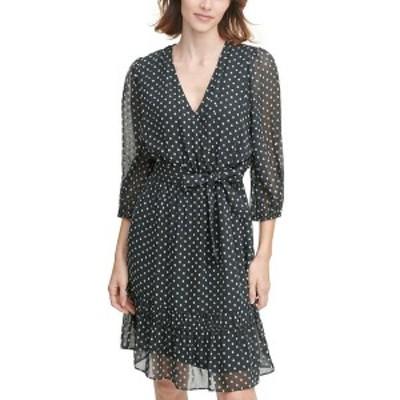 カルバンクライン レディース ワンピース トップス Printed Tie-Waist Dress Black/White Dot